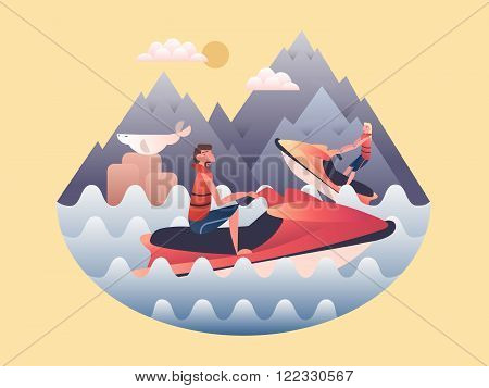 Jetski design flat. Water and speed jetski, sport power extreme, activity outdoor, vector illustration