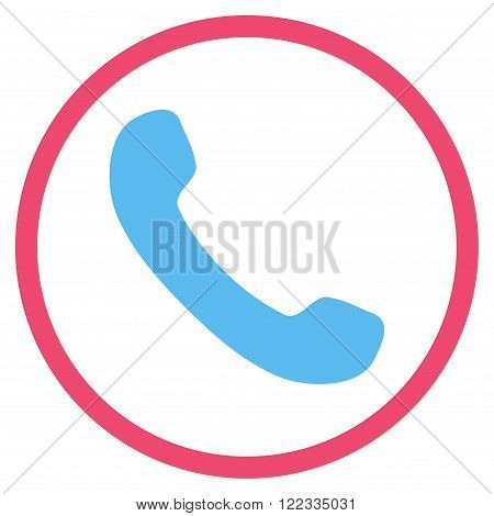 Phone Receiver vector bicolor icon. Image style is a flat icon symbol inside a circle, pink and blue colors, white background.