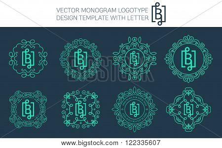 Vector monogram logo set with letter B. You can use in royal floral monogram design logo. Creative art monogram of logo ornament. Design vector illustration of letter B. Floral monogram logo style.