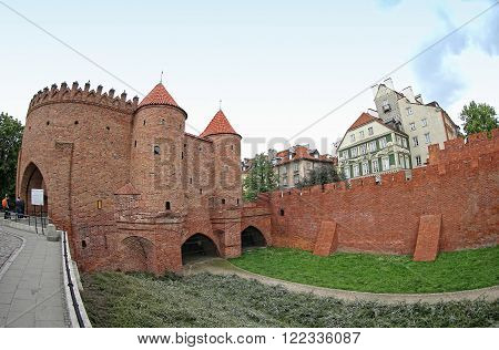 Warsaw Barbican (Polish: Barbakan Warszawski) semicircular fortified outpost in Warsaw city, Poland. Located between the Old and New Towns it is a major tourist attraction
