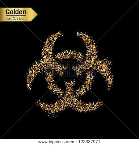 Gold glitter vector icon of Bio hazard isolated on background. Art creative concept illustration for web, glow light confetti, bright sequins, sparkle tinsel, abstract bling, shimmer dust, foil.