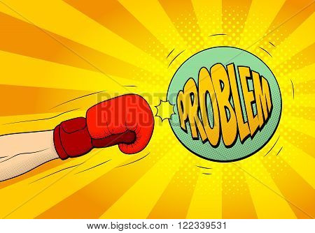 Hand of boxer in boxing glove hits a ball with name stress in pop art retro style. Explosive background in pop art style. Vector illustration.