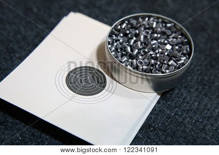 aluminum can of lead pellets for air rifle and target poster
