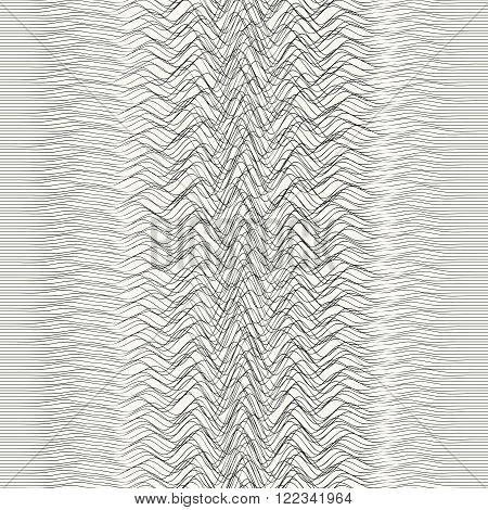 Hand drawn abstract irregular sound waves monochrome illustration background - vector seamless pattern