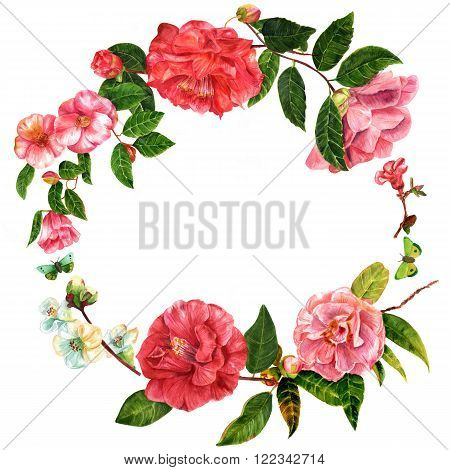 A vintage style decorative wreath with watercolor drawings of camellias and quince with butterflies on white background with a place for text