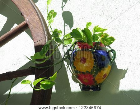 Waggon Wheel And Flowerpot