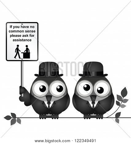 Comical common sense sign with birds perched on a branch isolated on white background