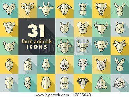 Set of farm animals icons. Vector head outline thin illustration. eps 10