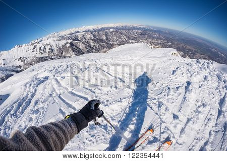 Skiing On The Alps, Subjective Personal View, Fisheye Lens