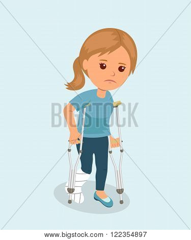 Female with crutches and a medical plaster bandage on leg. Safety concept. Health insurance. Bone fracture. Isolated character.