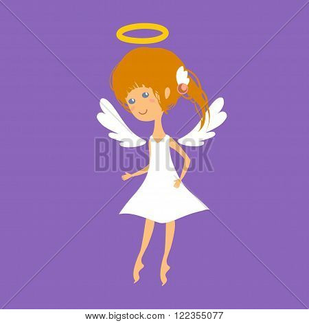 Redhead little girl - angel with wings and halo hovers