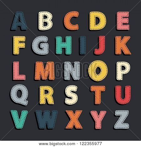 Vector abstract alphabet .Alphabet needled seams.Vector alphabet with seam.Alphabet isolated.Vector Alphabet flat style.Vector color Alphabet.Vector font isolated .Vector Type.Hand drawn, shadow