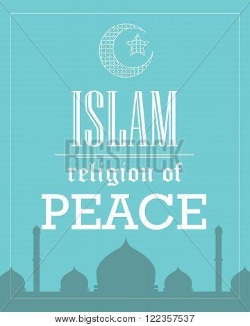 islam religion of peace poster template flat vector tipography
