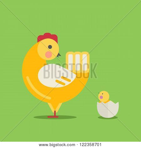 Cute cartoon hen and chick.Cartoon hen and chick vector bird flat style.Chicken bird isolated on background.Chicken farm bird.Vector Cute Chicken character .Farm bird vector illustration