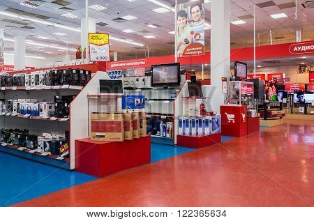 SAMARA RUSSIA - MARCH 8 2016: Interior of the electronics shop M-Video. Is the largest Russian consumer electronic retail chain