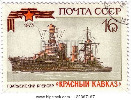 Ussr - Circa 1973: A Stamp Printed In Ussr Shows Cruiser Red Caucasus, Series Soviet Warships, Circa