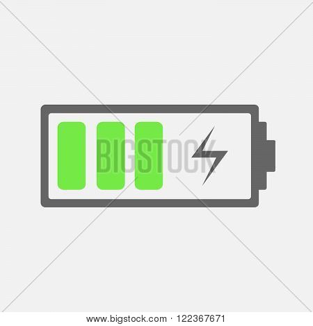 Battery charging Icon - vector illustration. The battery icon with a good charge.