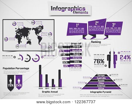 INFOGRAPHIC DEMOGRAPHIC ELEMENT WEB NEW STYLE PURPLE