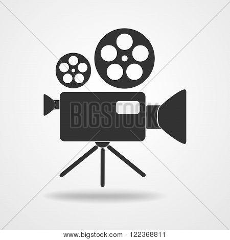 Camcorder icon - vector illustration. Black icon of movie camera. Flat camcorder symbol.