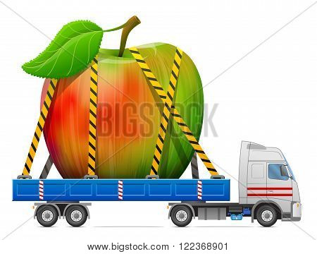 Road transportation of apple fruit. Delivery of big apple with leaf in back of truck. Qualitative vector illustration about apple agriculture fruits cooking gastronomy etc. It has transparency masks blending modes mesh