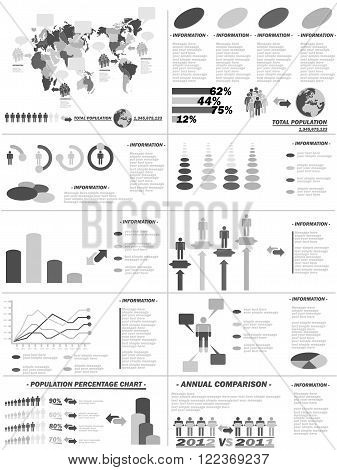 INFOGRAPHIC DEMOGRAPHICS WEB ELEMENTS GREY for web and other