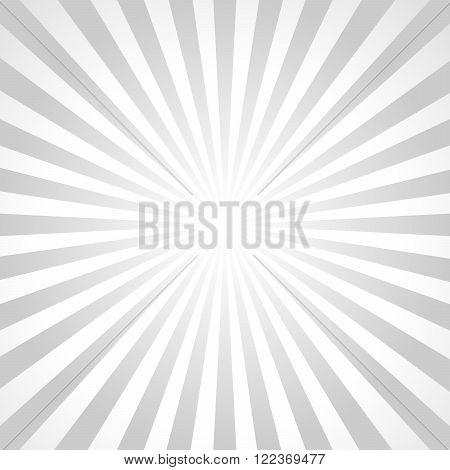 Illustration gray sunbeams. Bright monochrome sunbeams. Abstract bright background. The sun and the sun's rays on gray background - vector illustration.