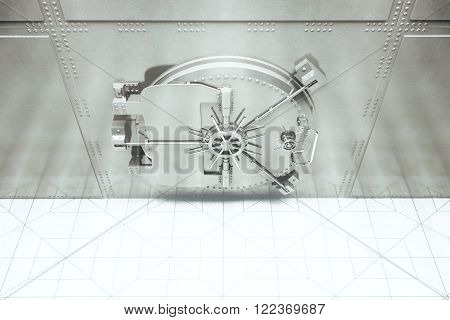 Topview of closed bank vault. 3D Render