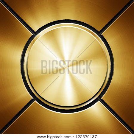 golden round metal plate