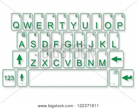 KEYBOARD QWERTY FLAT GREEN for web and other