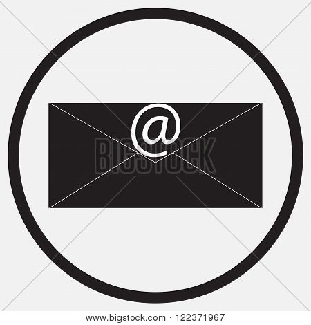 Icon monochrome black white e-mail message. Mail and e-mail icon e-mail marketing internet and contact envelope message icon e-mail sign mail web email. Vector abstract flat design illustration