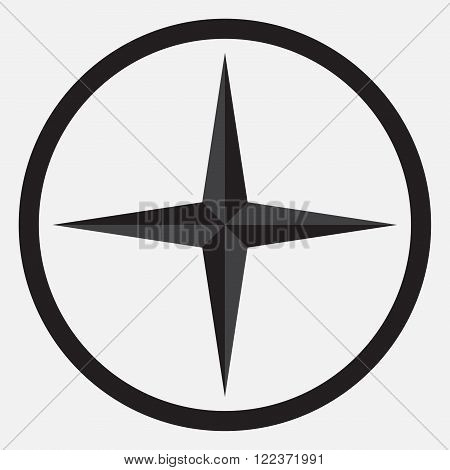 Compass star icon monochrome black white. Compass and star nautical star compass rose direction navigation. Vector abstract flat design illustration