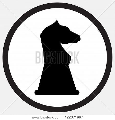 Chess horse icon monochrome black white. Chess and horse chess knight chess pieces horse head horse chess piece icon or symbol animal knight mustang. Vector abstract flat design illustration