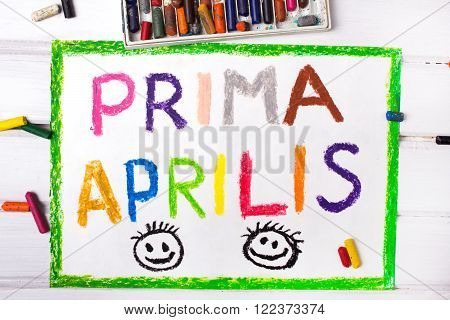 Colorful drawing : Prima Aprilis as a name of an April Fool's Day in Poland