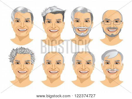 set of mature man avatar with different hairstyles isolated on white background