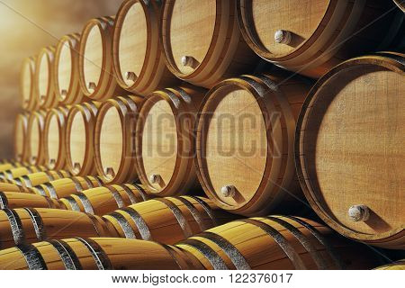 Close up of wooden barrels in winery. 3D Render