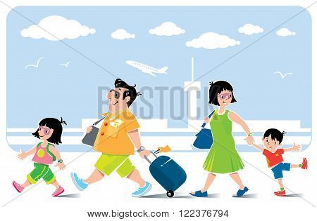 Funny air passengers. Vector illustration of fast paced family father with suitcase litle girl his daughter goes ahead. Mother with son go behind them. On the background of the airport view