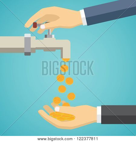 Business hand open tap. Money flows to the hand on the green background.