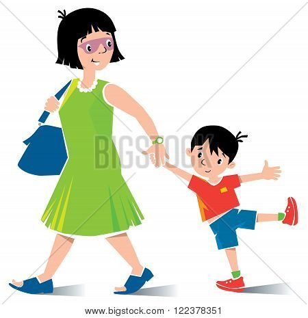Vector illustration of fast paced funny mother in green dress  with son in red t-shirt and shorts