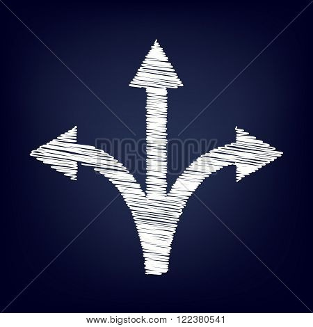 Three-way direction arrow sign. Chalk effect on blue background