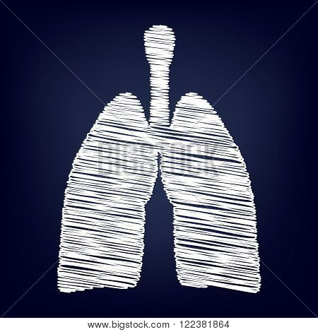 Human organs. Lungs sign. Chalk effect on blue background