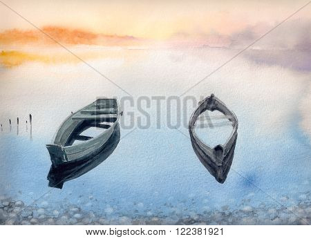 Two old boats on the lake.Picture created with watercolors.