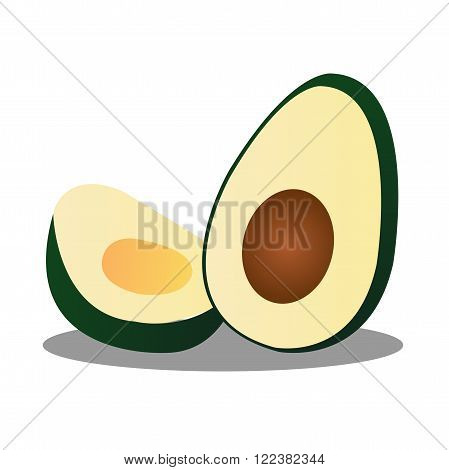 Halved Ripe Green and Yellow Avocado on White Background