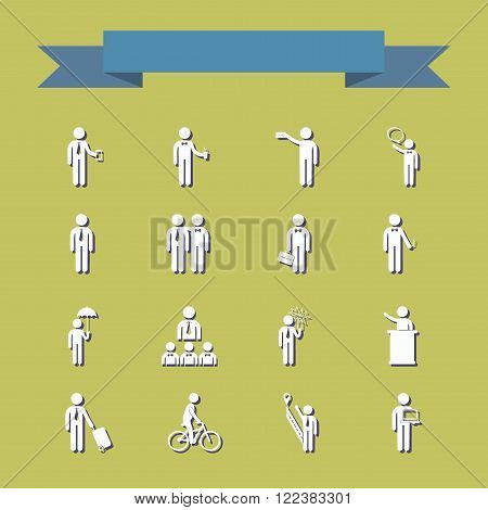 stick figure of human silhouette. set of vector picture