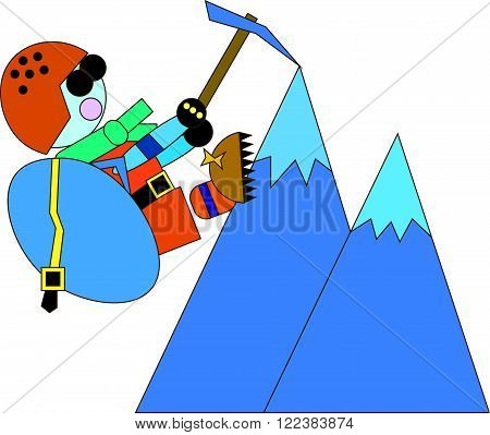 Climber in a helmet and a backpack with boots with studs got to the mountain top and holding on to her ice ax. The concept of a healthy lifestyle, sport and mountain tourism