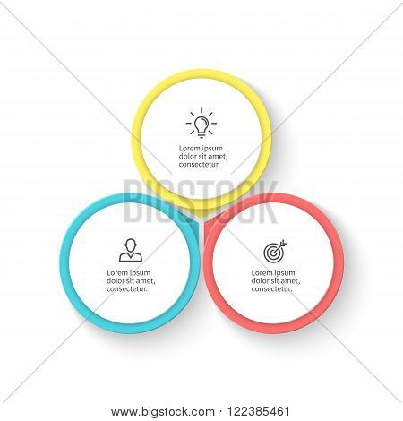 Infographic element with petals. Flat chart, diagram, graph with 3 steps, options. Vector design element.
