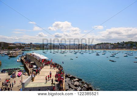 SAN SEBASTIAN, SPAIN JULY 12, 2015, view of the beach La Concha, the famous waterfront of Basque Country San Sebastian. a very upmarket district, known as a millionaires' belt