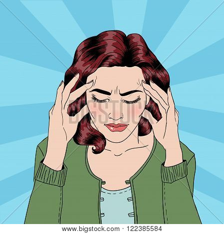 Woman has a Headache. Woman Stress. Stress at Home. Stress at Work. Exhausted Woman. Woman in depression. Painful Feeling. Pop Art Banner. Vector illustration. Comic style