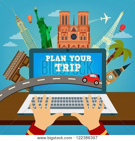 Plan your Trip. Travel Banner. Time to Travel. Vacation Planning. Travel Industry. Modern Travel Technologies. Booking Hotel. Vector illustration
