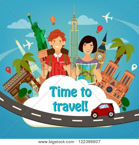 Let's Go Travel. Travel Banner. Travel Industry. Famous World Buildings. Time to Travel. Historical Architecture. Happy Tourist. Man with Backpack. Girl with Map. Vector illustration. Flat style
