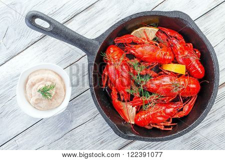 crawfish on a frying pan view from above